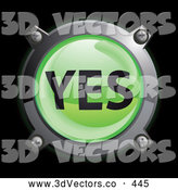 September 22nd, 2013: 3d Vector Clipart of a Shiny Green Yes Button Icon on Black by Frog974
