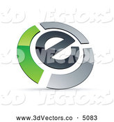 3d Vector Clipart of a Shiny Letter E Circled by Chrome and Green Bars by Beboy