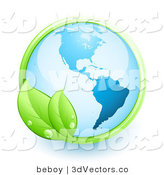 3d Vector Clipart of a Shiny Orb of Blue Earth over a White Background, with a Green Vine with Two Leaves and Dew Drops by Beboy