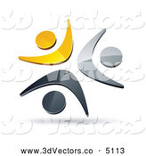 3d Vector Clipart of a Shiny Pre-Made Logo of Three Yellow, Chrome and Black People Celebrating or Dancing by Beboy