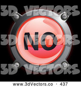 September 13th, 2013: 3d Vector Clipart of a Shiny Red No Button Icon on Black by Frog974