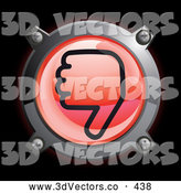 September 15th, 2013: 3d Vector Clipart of a Shiny Red Thumbs down Button Icon on Black by Frog974