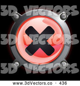 September 13th, 2013: 3d Vector Clipart of a Shiny Red X Button Icon on Black by Frog974