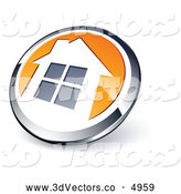 3d Vector Clipart of a Shiny Round Silver and Orange Home Button by Beboy
