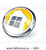 3d Vector Clipart of a Shiny Round Silver and Yellow Home Button by Beboy