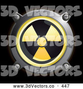 September 24th, 2013: 3d Vector Clipart of a Shiny Round Yellow Radiation Button Icon by Frog974