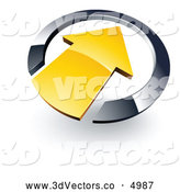 3d Vector Clipart of a Shiny Yellow Arrow Pointing Inwards in a Chrome Circle by Beboy