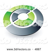 June 20th, 2013: 3d Vector Clipart of a Silver and Green Target or Circles by Beboy