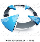 3d Vector Clipart of a Silver Circle with Four Blue Arrows Pointing Inwards by Beboy