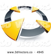 3d Vector Clipart of a Silver Circle with Four Green Arrows Pointing Inwards by Beboy
