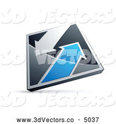 October 8th, 2013: 3d Vector Clipart of a Silver or Chrome and Blue Diamond with Arrows by Beboy