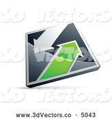 October 9th, 2013: 3d Vector Clipart of a Silver or Chrome and Green Diamond with Arrows by Beboy