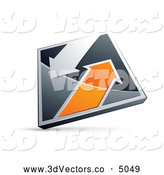 October 13th, 2013: 3d Vector Clipart of a Silver or Chrome and Orange Diamond with Arrows by Beboy