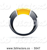 October 12nd, 2013: 3d Vector Clipart of a Silver or Chrome and Yellow Ring by Beboy