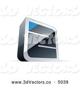 October 9th, 2013: 3d Vector Clipart of a Silver or Chrome Maze with a Blue Triangle at the End by Beboy