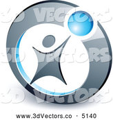 3d Vector Clipart of a Silver Person Reaching up to a Blue Ball in a Circle by Beboy