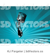3d Vector Clipart of a Silver Retro Microphone over a Background of Rays of Blue Light by KJ Pargeter
