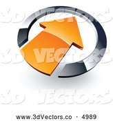 3d Vector Clipart of a Simple Orange Arrow Pointing Inwards in a Chrome Circle by Beboy