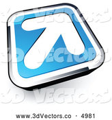 3d Vector Clipart of a Simple White Arrow on a Blue and Chrome Button by Beboy