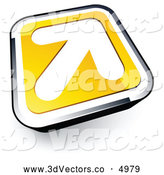 3d Vector Clipart of a Simple White Arrow on a Yellow and Chrome Button by Beboy