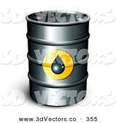 3d Vector Clipart of a Single Barrel of Gasoline with a Droplet Icon on the Front over White by Beboy