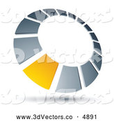 3d Vector Clipart of a Single Yellow Square in a Chrome Dial - Coloring Page Outline by Beboy