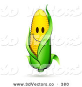 3d Vector Clipart of a Smiling Yellow Corn on the Cob Character with a Green Husk by Beboy