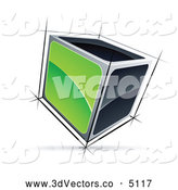 3d Vector Clipart of a Solid 3d Cube with Green and Black Sides by Beboy