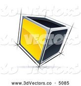 3d Vector Clipart of a Solid 3d Cube with Yellow and Black Sides by Beboy