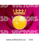 3d Vector Clipart of a Sparkly Yellow Disco Ball with a Crown and Pink Wings, over a Pink Grunge Dotted and Splattered Background by Elaineitalia