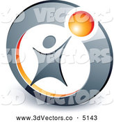 3d Vector Clipart of a Stylized Person Reaching up to an Orange Ball in a Circle by Beboy