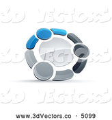 3d Vector Clipart of a Tight Circle of Three Blue, Gray and Black People Holding Hands by Beboy