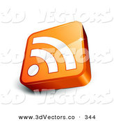 3d Vector Clipart of a Tilted Orange Cube with a White RSS Symbol over White by Beboy