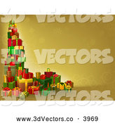 3d Vector Clipart of a Tower of Christmas Gifts on a Golden Background by AtStockIllustration