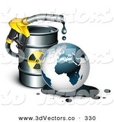 3d Vector Clipart of a Toxic Yellow Petrol Nozzle Dripping Oil over the Earth in Front of a Barrel of Gas by Beboy