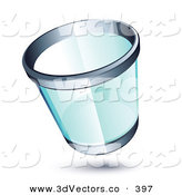 3d Vector Clipart of a Transparent Chrome Rimmed Trash Can by Beboy