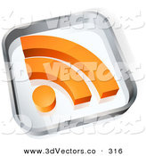 November 1st, 2012: 3d Vector Clipart of a Transparent Glass Block with an Orange RSS Blogging Symbol on White by Beboy
