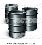 3d Vector Clipart of a Trio of Black Unmarked Barrels of Gasoline by Beboy