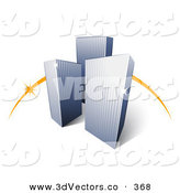 3d Vector Clipart of a Trio of City Skyscraper Buildings in Front of an Orange Dash by Beboy