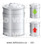 3d Vector Clipart of a Trio of Metal Trash Bins with Handles on the Lids, One with a Green Arrow and One with a Red Arrow by Beboy