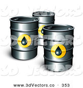 3d Vector Clipart of a Trio of Petrol Barrels of Gasoline with Oil Symbols by Beboy