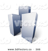 February 15th, 2013: 3d Vector Clipart of a Trio of Tall City Highrise Buildings with Sunlight Beaming off of the Corners by Beboy
