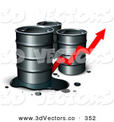 3d Vector Clipart of a Trio of Unmarked Barrels of Oil, One with a Spill, and a Red Arrow Showing an Increase of Gasoline Consumption or the Rise in Cost by Beboy