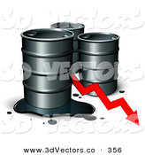 3d Vector Clipart of a Trio of Unmarked Barrels of Oil with a Spill and a Red Arrow Showing a Decrease of Gasoline Consumption or in Cost by Beboy