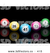 3d Vector Clipart of a V Formation of Colorful Bingo or Lottery or Billiard Balls on a Black Reflective Surface by Elaineitalia