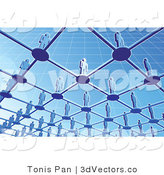 3d Vector Clipart of a View from Below a Group of Blue People Standing on Circles Connected by Bars in a Grid by Tonis Pan