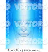 3d Vector Clipart of a Virtual Head with Binary Coding on Blue by Tonis Pan