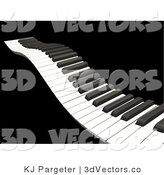 3d Vector Clipart of a Waving Piano Keyboard with White and Black Keys, over a Solid Black Background by KJ Pargeter