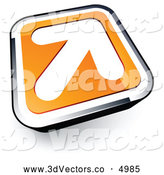 3d Vector Clipart of a White Arrow on a 3d Orange and Chrome Button by Beboy