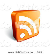 3d Vector Clipart of a White RSS Symbol on a Standing Orange 3d Cube by Beboy